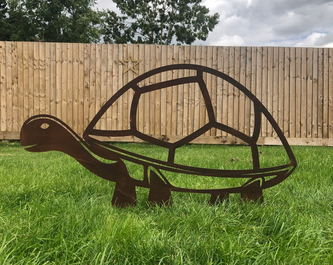 GIANT TORTOISE Rusty metal garden decoration , TURTLE Garden Ornament , garden feature , lawn decoration , garden statue , garden sign