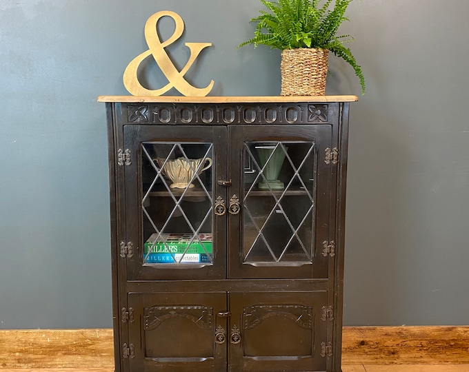 Vintage Oak Glazed Cupboard / Rustic Sideboard / Oak Cupboard /  Glazed Bookcase
