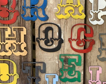 """5"""" AND 12"""" Coloured ,  CARNIVAL LETTERS , Rustic metal alphabet letters, shop signs, fairground signs , industrial lettering , vintage signs"""