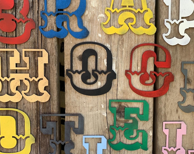 "5"" AND 12"" Coloured ,  CARNIVAL LETTERS , Rustic metal alphabet letters, shop signs, fairground signs , industrial lettering , vintage signs"