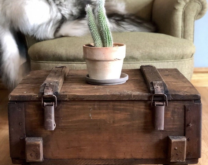 Rustic Industrial Coffee Table Storage Table Vintage Wooden Trunk On Wheels