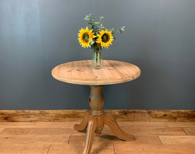 Round Pine Table / Small Rustic Table / Vintage Table / Bistro Table