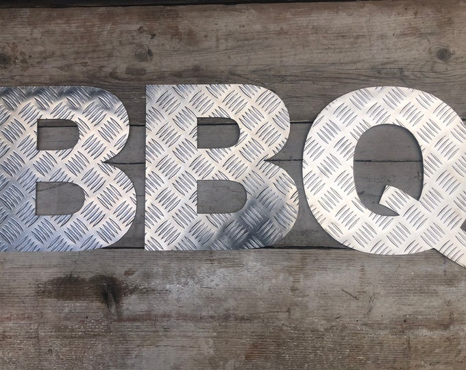 BBQ SIGN , ALUMINIUM metal letters , home bar sign , garden sign , rustic lettering , bbq area sign , kitchen sign , garden bar sign