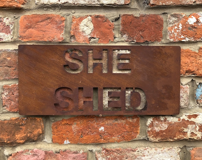 Rusted SHE SHED Plaque Word Sign Metal Kitchen Christmas Birthday Present Gift For Mum Mother Wife Her Lady Women Girlfriend Novelty