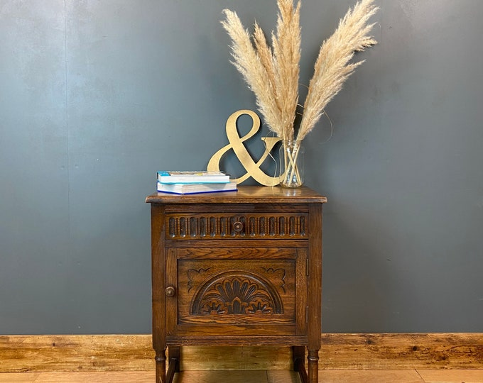 Rustic Vintage Oak Cabinet/ Small Vintage Cupboard / Oak Bedside / Rustic Unit