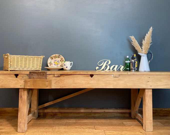 Rustic Old Pine Sideboard / Long Kitchen Workbench / Rustic Console Table /