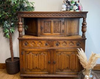 Vintage Linenfold Oak Dresser / Rustic Home Bar / Oak Sideboard / Court Cupboard
