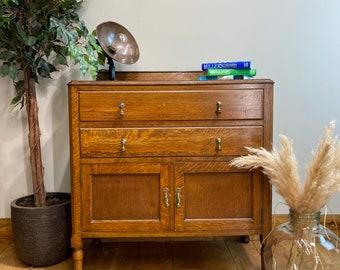 Rustic Vintage Oak Sideboard /Oak Cupboard / Rustic Drawers / Home Cocktail Bar