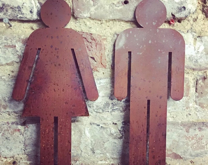 Rusty metal Man and lady ladies and gentlemen toilet door plaques wall decor home shop sign signage