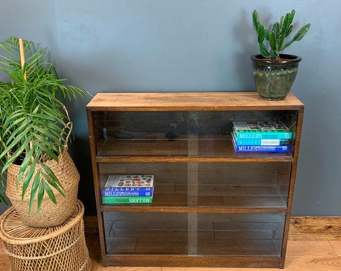 Rustic Vintage Bookcase Shelves Shelving Storage Oak Glazed Doors Cupboard