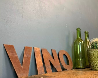 Rusty VINO Letters /  Metal Wall Art / Kitchen Decor / Bar Sign / Shop Sign , gift for a wine lover