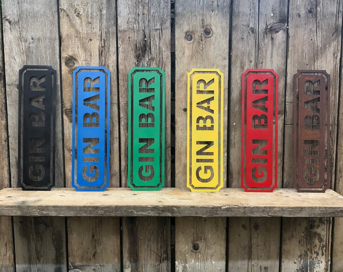 RUSTIC colourful GIN BAR Word Sign Metal Shop Home Rustic Pub Cafe Bar Cocktails Drinks