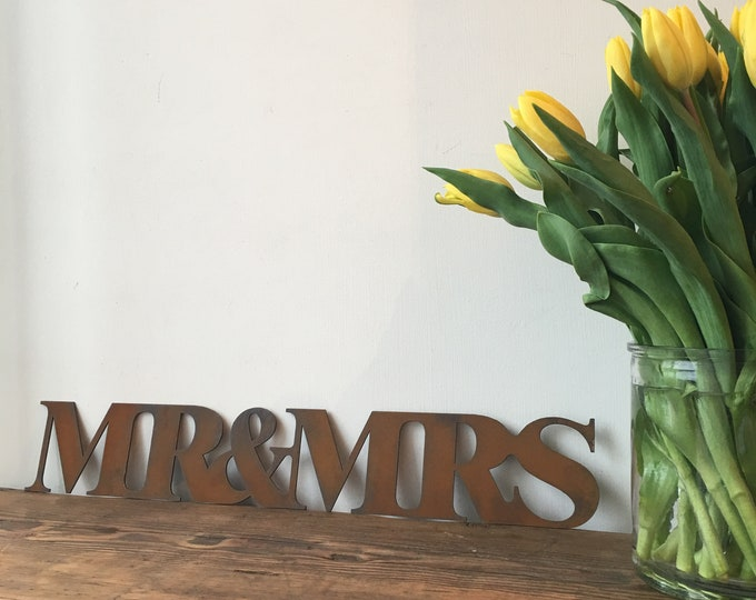 Rusty MR & MRS Lettering Letters Sign Metal Home Vintage and Rustic Wedding