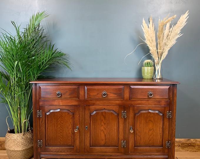 Vintage Rustic Solid Oak Sideboard Buffet Server Cupboard Drawers Unit Storage
