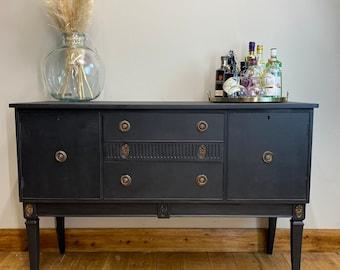 Vintage Black Sideboard / Painted  Sideboard / Drink Cabinet / Cocktail Cabinet