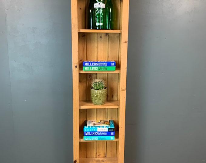 Vintage Bookcase / Slim Pine Bookcase / Rustic Shelving / Vintage Shelving / B