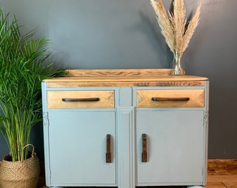 Vintage Painted Grey Blue Antique Art Deco Sideboard Cupboard Rustic Drawers Oak