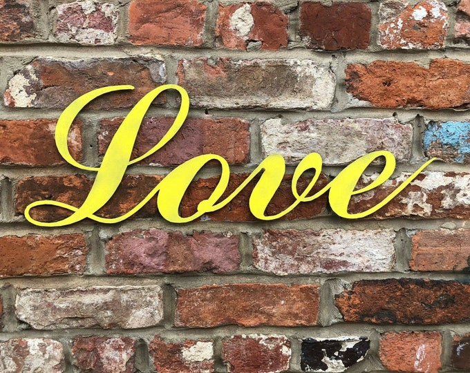 COLOURED LOVE Word Lettering Letters Sign Metal Home Shabby Chic Vintage Rustic