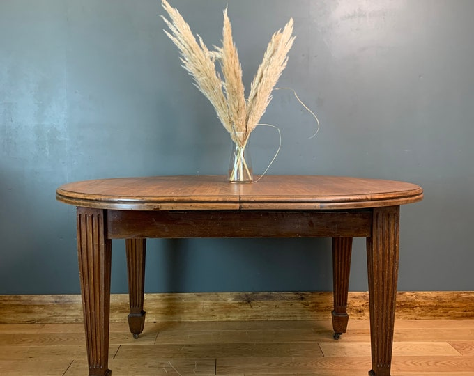 Antique mahogany table Edwardian Dining Kitchen Rustic Table Extending Wind Out