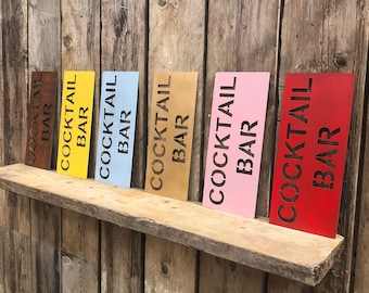 RUSTIC colourful COCKTAIL BAR Word Sign christmas gift birthday present for him her wife husband man lady girlfriend boyfriend women novelty
