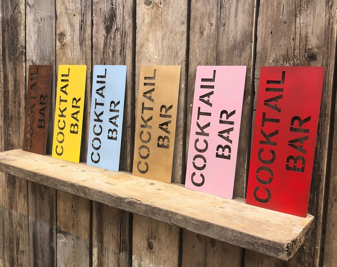 COCKTAIL BAR SIGN, rustic sign , cocktail bar , drinks sign , boho sign , Word Sign , christmas gift , birthday present , novelty gift ,