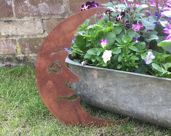 MOON Sign in rusty Metal , Garden Ornament , Wall Art , garden gift , rustic garden decoration , wall decoration , fence decoration ,