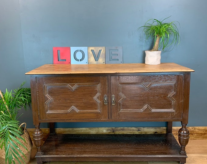 Vintage Sideboard / Rustic Sideboard / Antique Oak Sideboard / Buffet Server / Rustic Cupboard / Drawers
