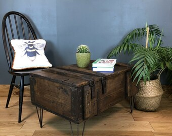 Rustic Small Pine Industrial Coffee Side Table Hairpin Legs Vintage Shoe Storage