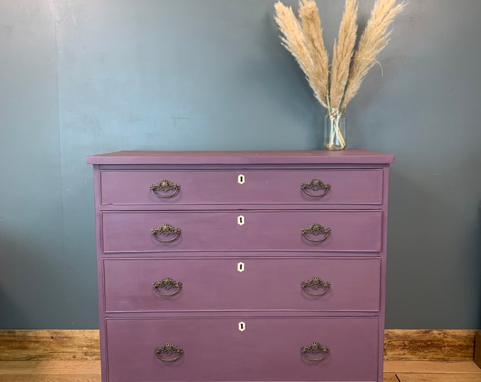 Chest Of Drawers / Painted Drawers / Bedroom Storage/ Shabby Chic/Painted Purple