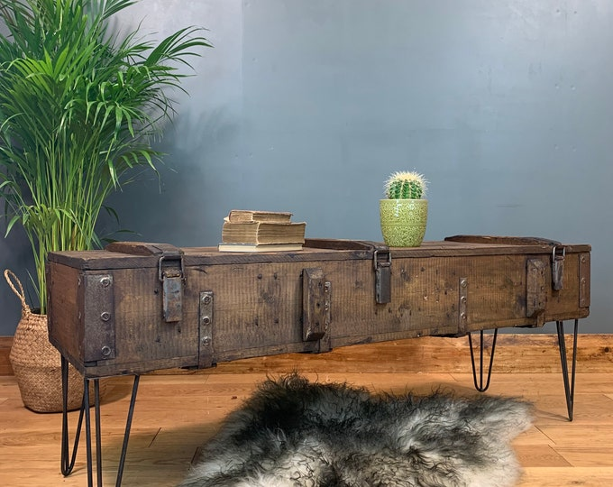 Vintage Upcycled Army Pine Trunk Chest Coffee Table Rustic Industrial Hairpin