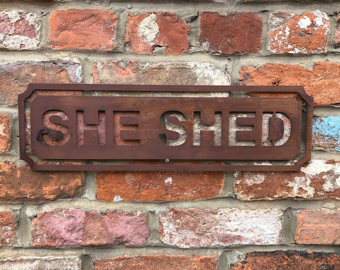 Rusted SHE SHED Word Sign Metal Shop Home Rustic Pub Cafe Bar Cocktails Drinks