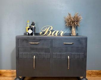 Vintage Black Sideboard /Art Deco Sideboard / Drink Cabinet / Cocktail Cabinet