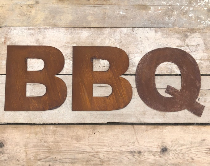 GARDEN BBQ SIGN , Rusty metal letters , home bar sign , garden sign , rustic lettering, rusted metal lettering , bar sign , bbq area sign