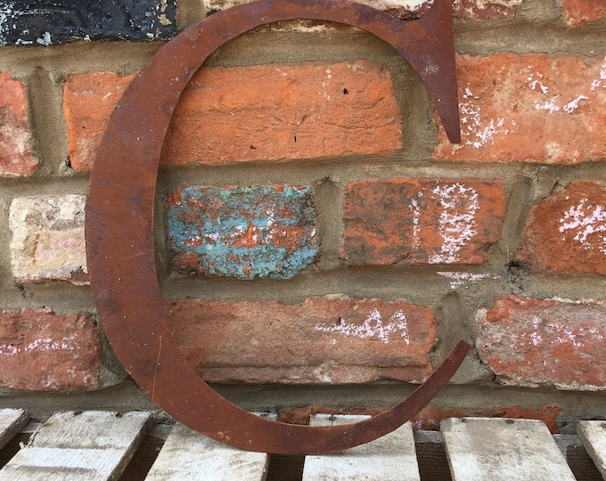 C Rusty metal letters, shop signage, initials, house sign garden name, lettering, rusted, industrial, vintage, numbers barbers, home, love