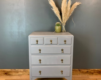 Boho Scandi Drawers Rustic Vintage Painted Shabby Chic Storage Grey/blue