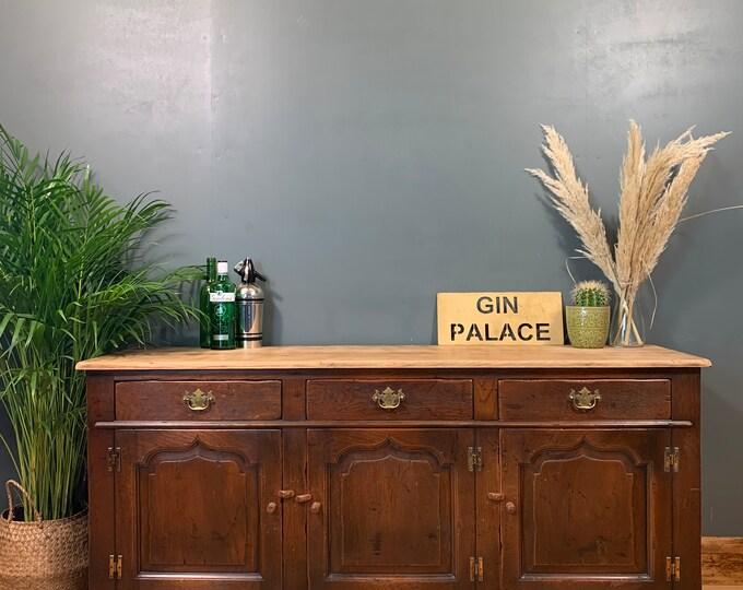 Vintage Rustic Solid Oak Sideboard Buffet Server Cupboard Drawers Unit Long