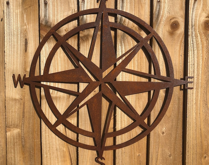 Rusty metal , COMPASS DECORATION , Garden Ornament , GARDEN Decoration , garden sculpture , fence decoration , wall decor , rustic sign