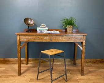 Vintage Desk & Stool  / Kitchen Table Island / School Lab Bench / Work Bench M