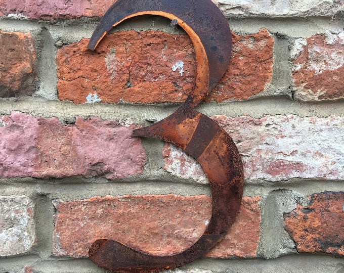 3 Rusty metal letters, shop signage, initials, house sign garden name, lettering, rusted, industrial, vintage, numbers barbers, home, love,