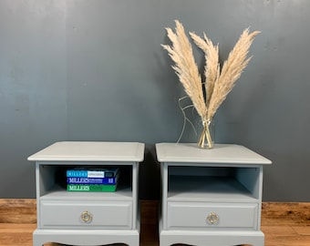 Vintage Bedside Cabinets/ Bedside Drawers / Painted Blue/grey / Made By Stag