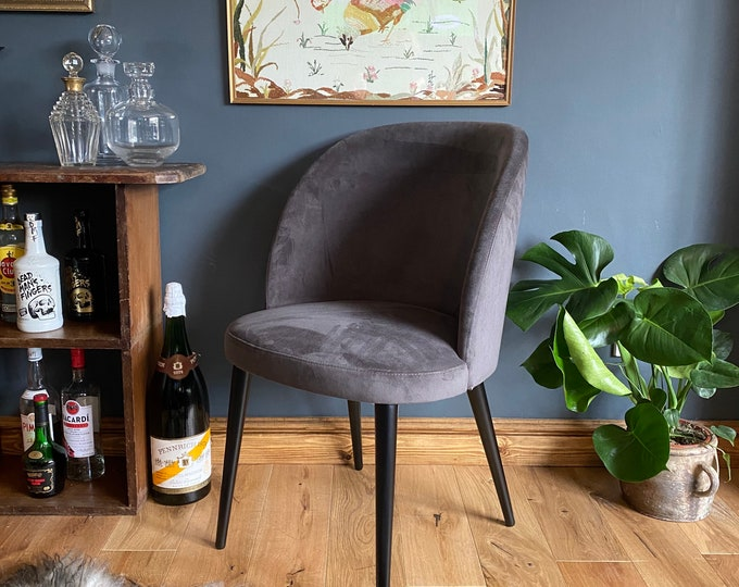 Heals Dining Chair / Velvet Chair / Cocktail Chair / John Lewis / Grey
