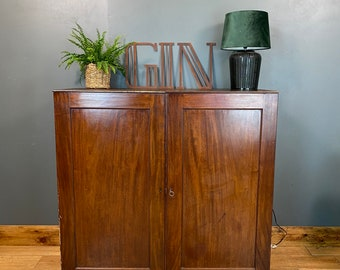 Vintage Antique Mahogany Cupboard / Linen Cupboard / Drinks Cabinet /