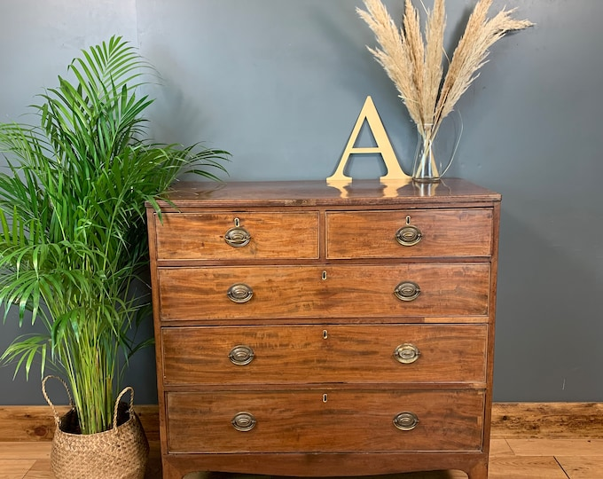 Vintage Rustic Wooden Storage Sideboard Chest Of Drawers Bedroom Mahogany