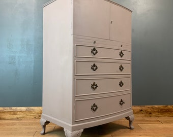 Vintage Cupboard Tallboy Chest Drawers Sideboard Painted Shabby Chic Rustic Pink