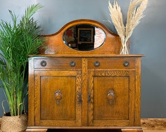 Antique Oak Sideboard / Arts and Crafts Cupboard / Vintage Cupboard / Cocktail Cabinet / Rustic Furniture