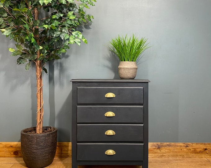 Retro Chest Of Drawers / Painted Drawers / BlacK Chest Of Drawers / Storage