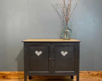 Boho Sideboard / Black Sideboard/ Rustic Upcycled Unit/ Painted Cupboard