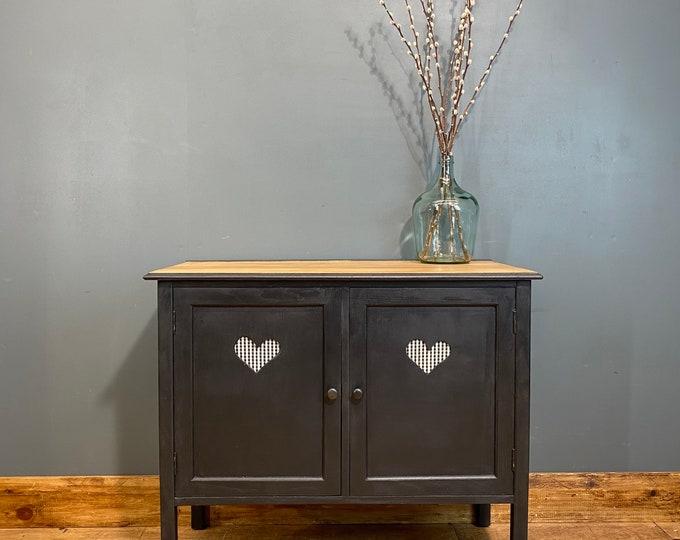 Boho Sideboard / Black Sideboard/ Rustic Upcycled Unit/ Painted Cupboard