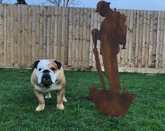 Large METAL Lest We Forget Soldier Army SILHOUETTE GARDEN Decoration Statue Feature