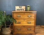 Vintage Satinwood Rustic Wooden Storage Distressed Sideboard Chest Of Drawers